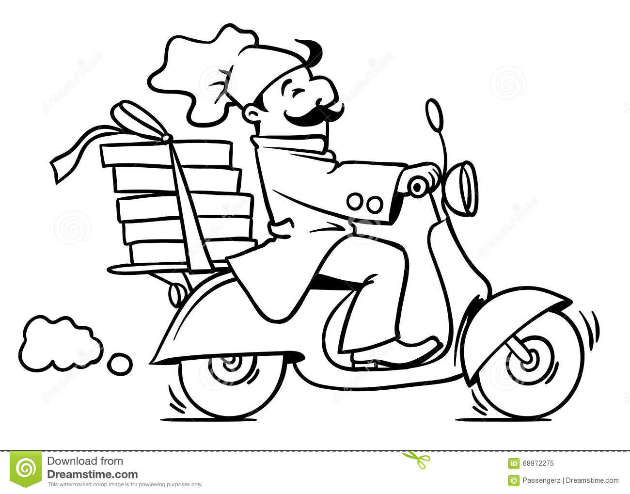 Funny Pizza Chef On Scooter. Pizza Delivery Emblem Stock