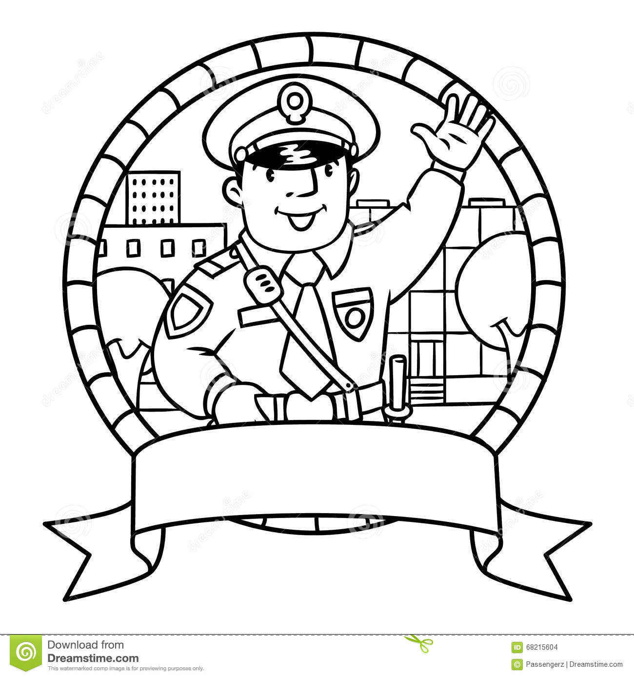 Funny Policeman. Coloring Book Or Emblem Stock