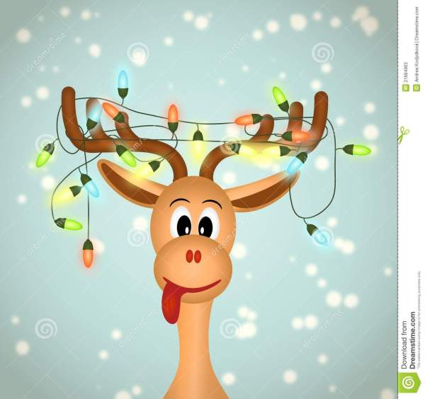 Funny Reindeer With Christmas Lights Stock Vector - Illustration Of Santa 21684963