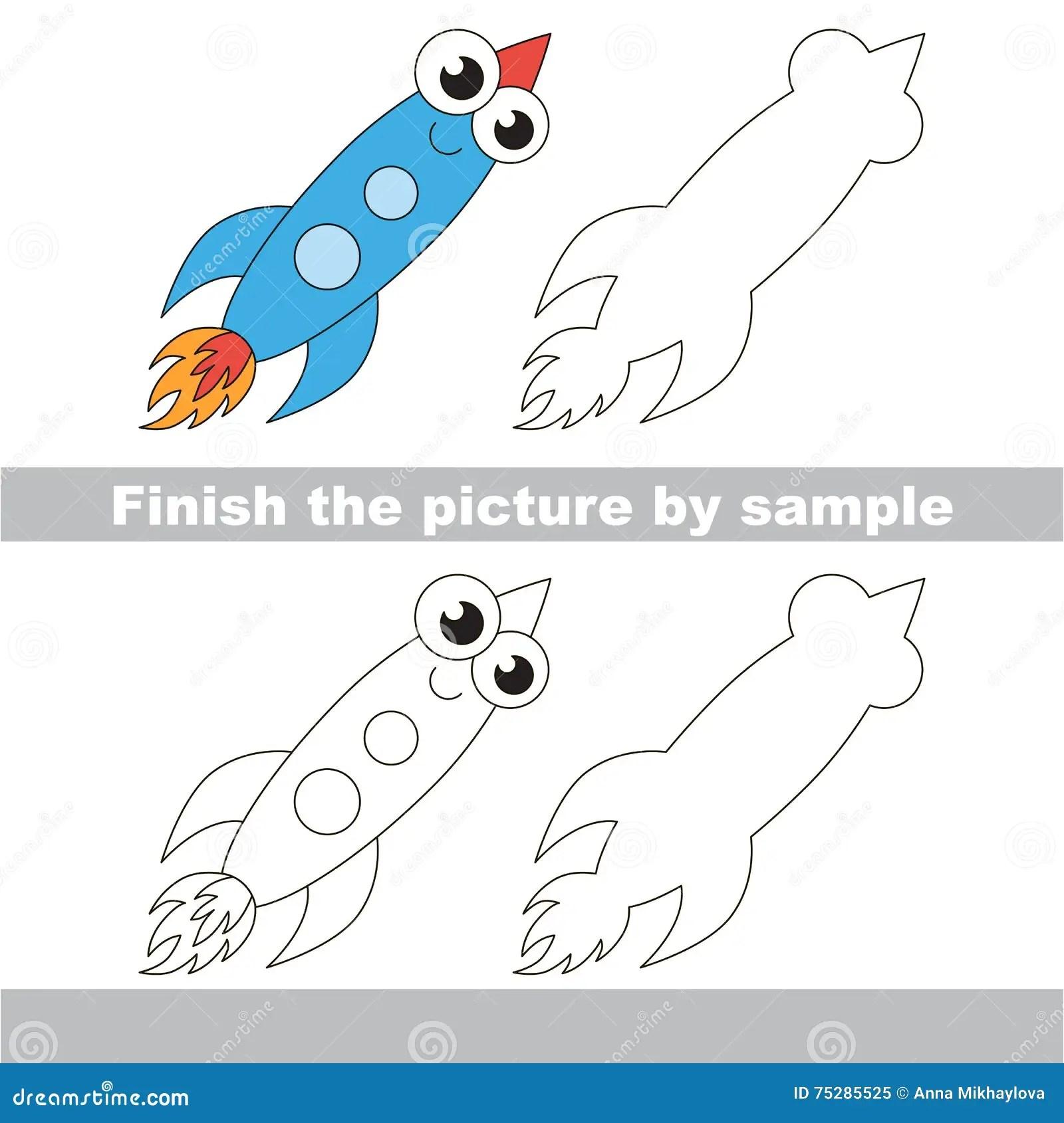 Funny Rocket Drawing Worksheet Stock Vector