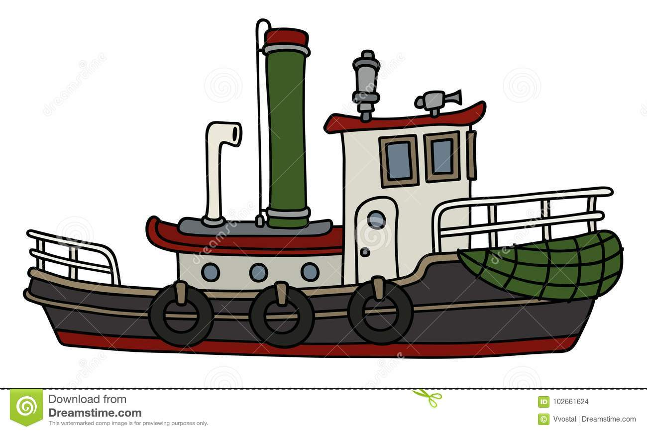 hight resolution of funny steam tugboat