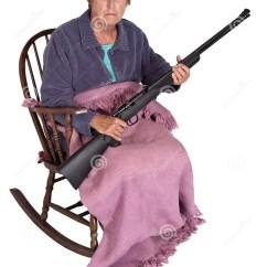 Grandma Rocking Chair Wrought Iron Swivel Patio Chairs Funny Trailer Park Trash Granny With Gun Humor Stock Photo
