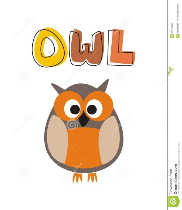 Funny Vector Staring Orange Owl Sitting Under Hand Stock - Illustration Of Doodle