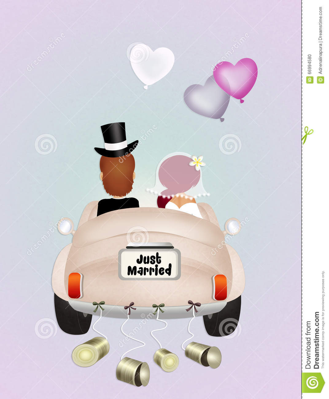 Funny Wedding car stock illustration Illustration of