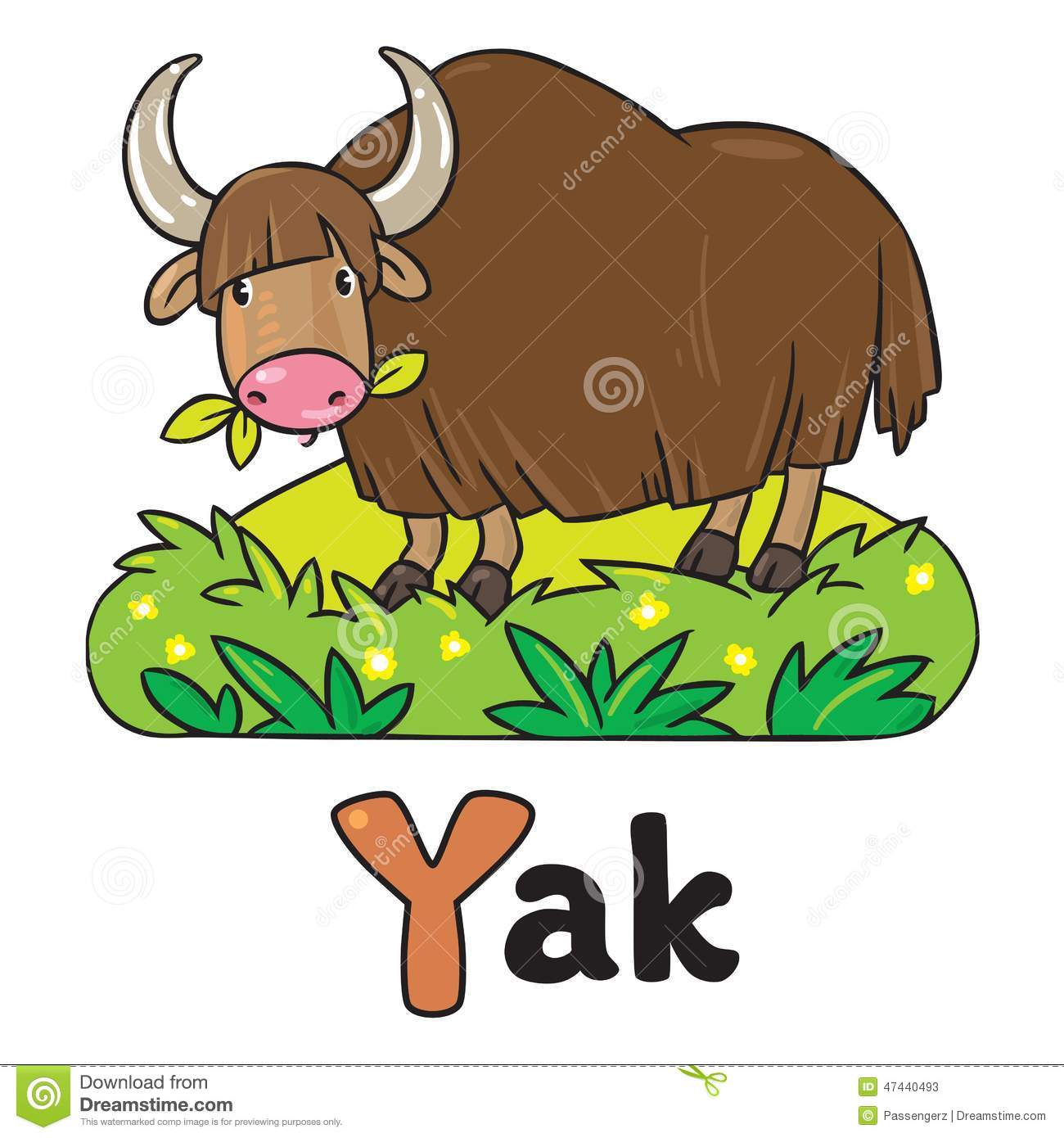 Funny Wild Yak Illustration For Abc Alphabet Y Stock