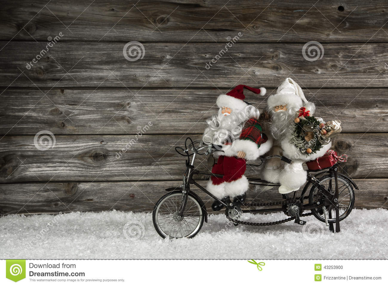 Funny Wooden Christmas Background With Two Santa Claus On