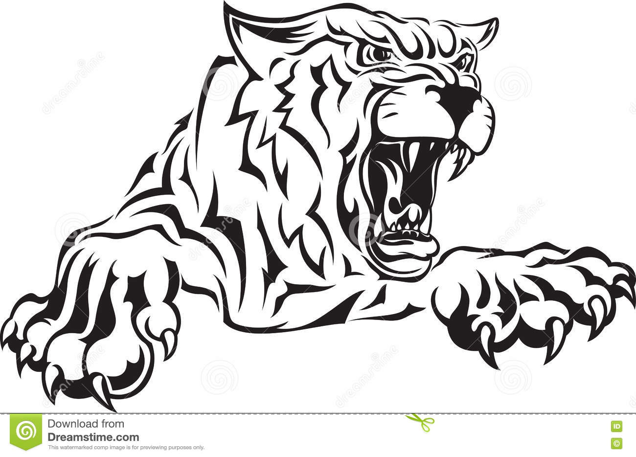 Furious Scary Tiger With An Open Mouth Stock Vector