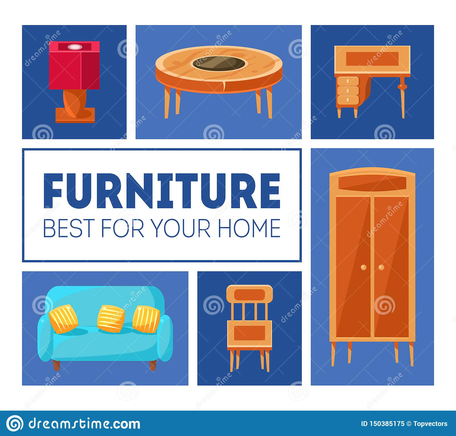 Furniture Banner Template. Best For Your Home. Interior Poster With Living Room Furniture. Vector Illustration Stock Vector - Illustration of best ...