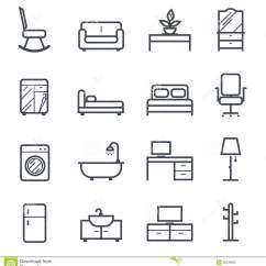 Desk Chair Office Max Patterned Wingback Furniture Icon Bold Stroke Stock Photo - Image: 58239620