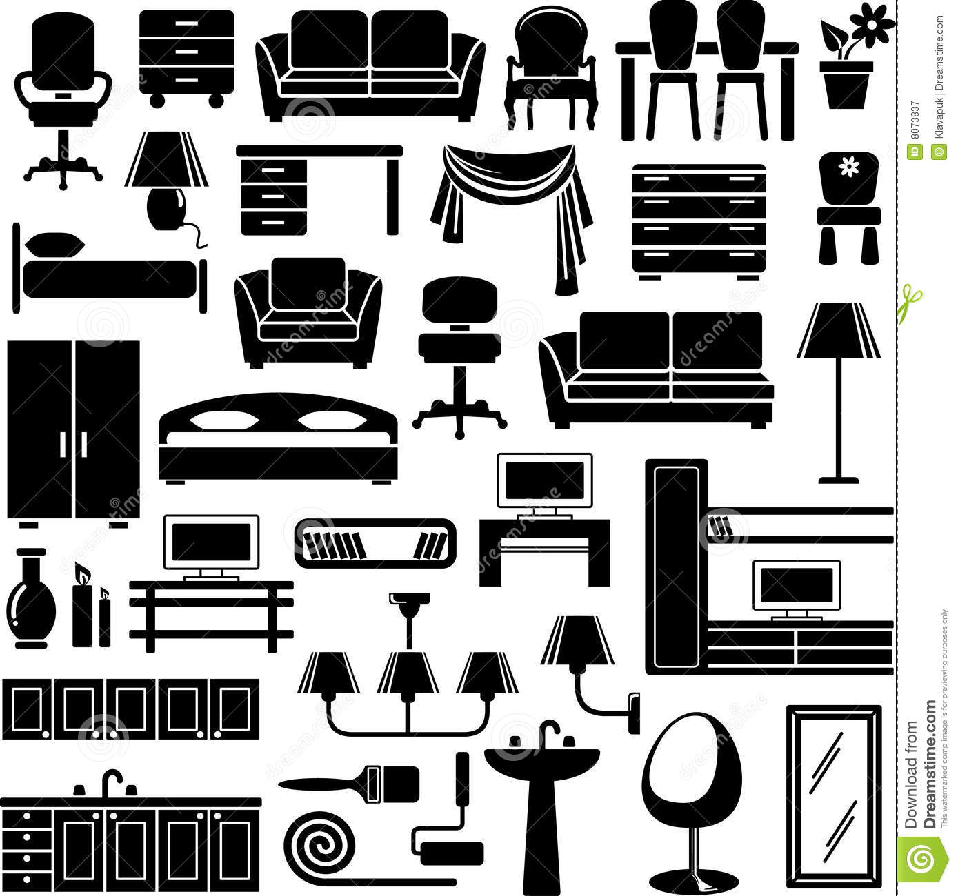 office chair vector gold's gym exercise furniture icons set stock illustration of isolated