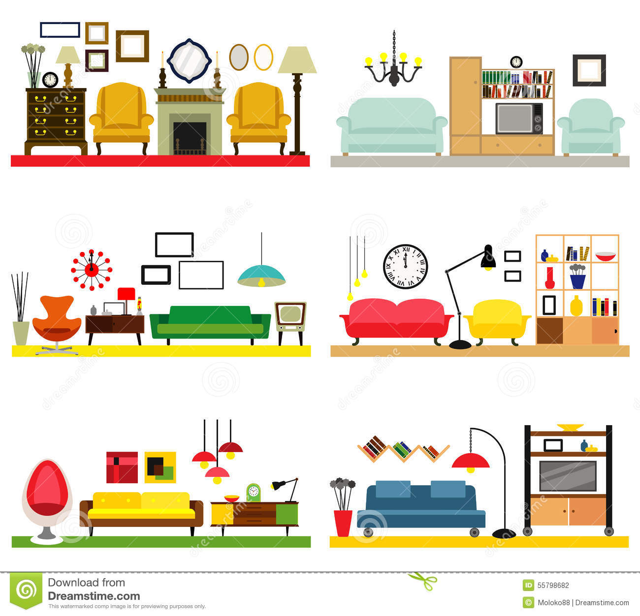 Furniture Ideas For Living Room Stock Vector