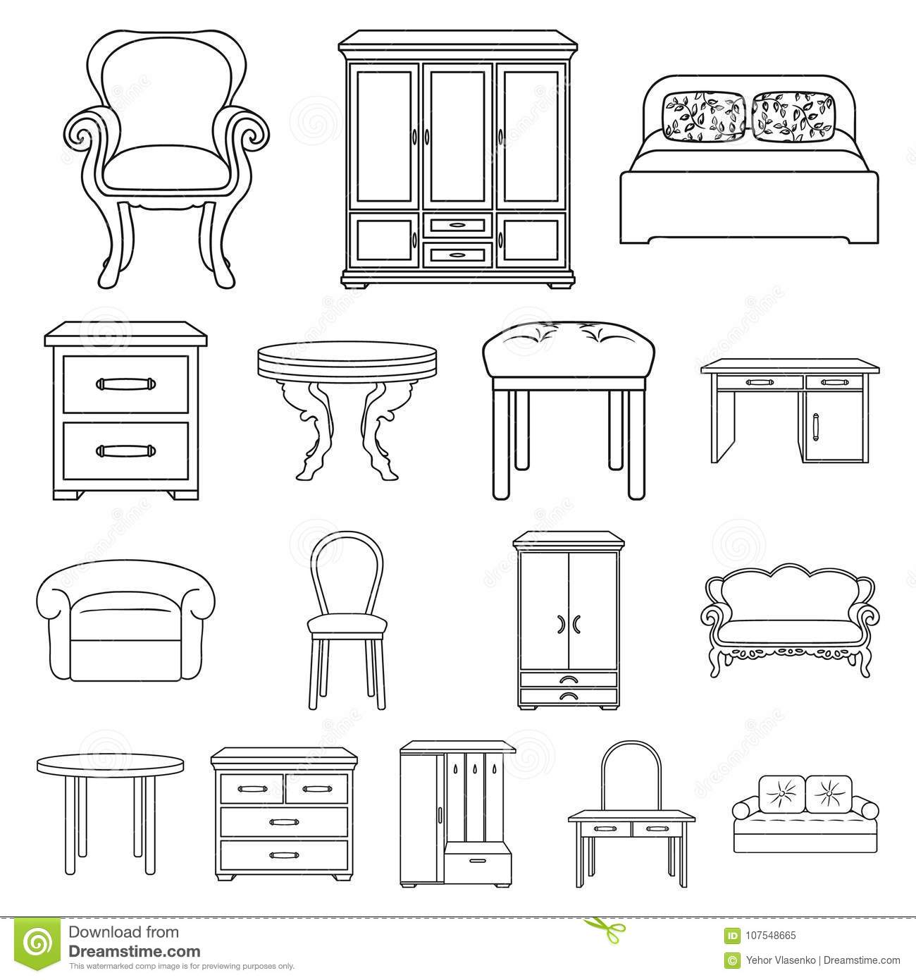 Furniture And Interior Outline Icons In Set Collection For
