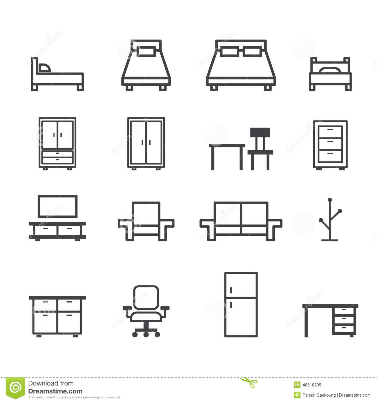 chair design icons modern sofa furniture line icon stock vector image 48618705