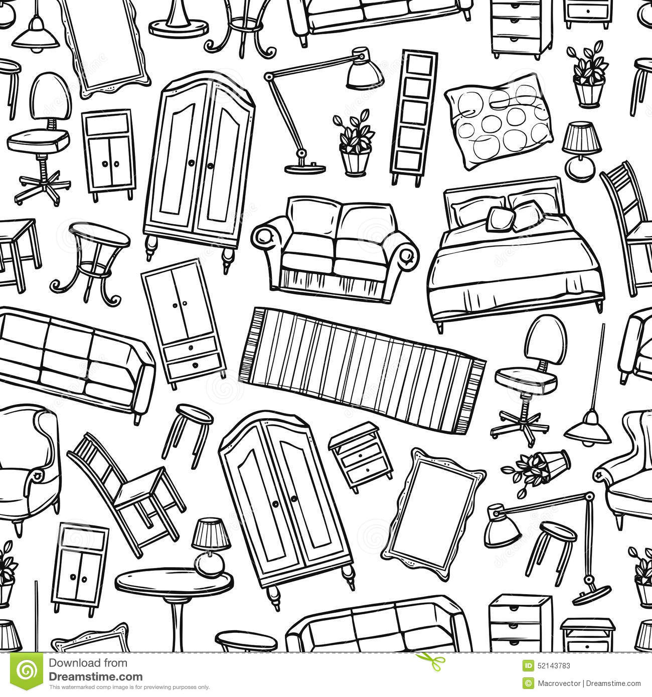 Furniture Seamless Pattern stock vector. Illustration of