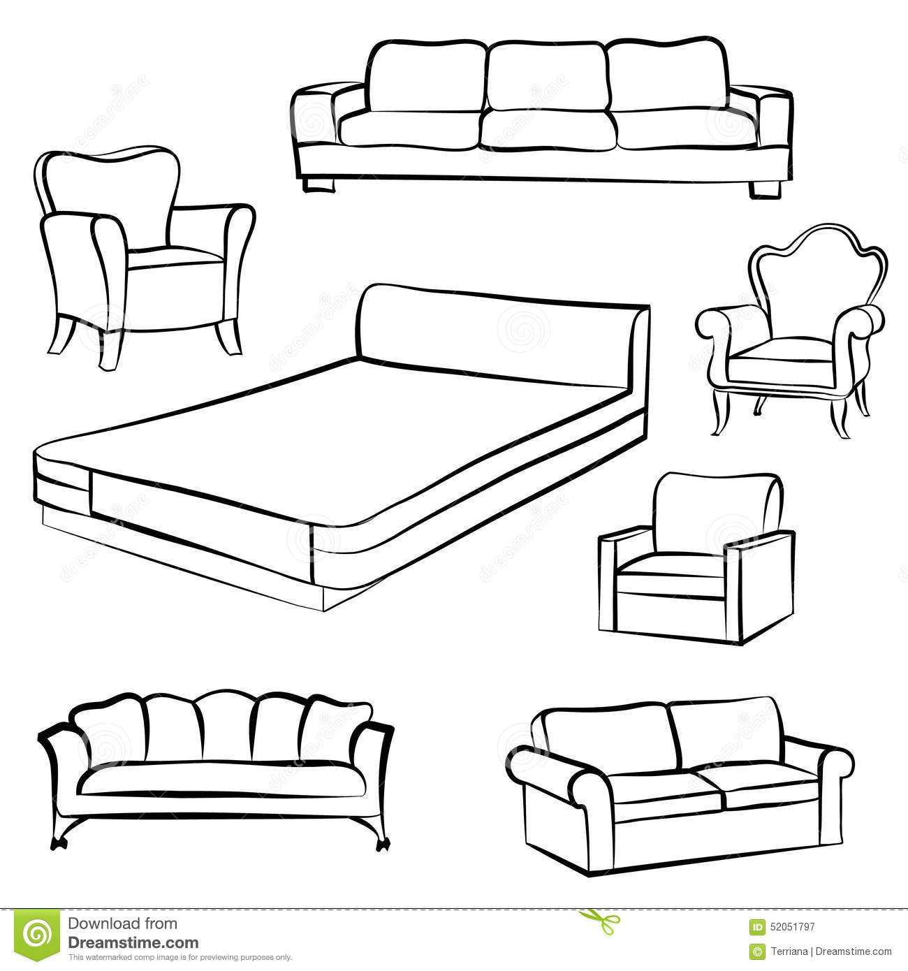 Furniture Set Interior Detail Outline Collection Bed Sofa S Stock Illustration