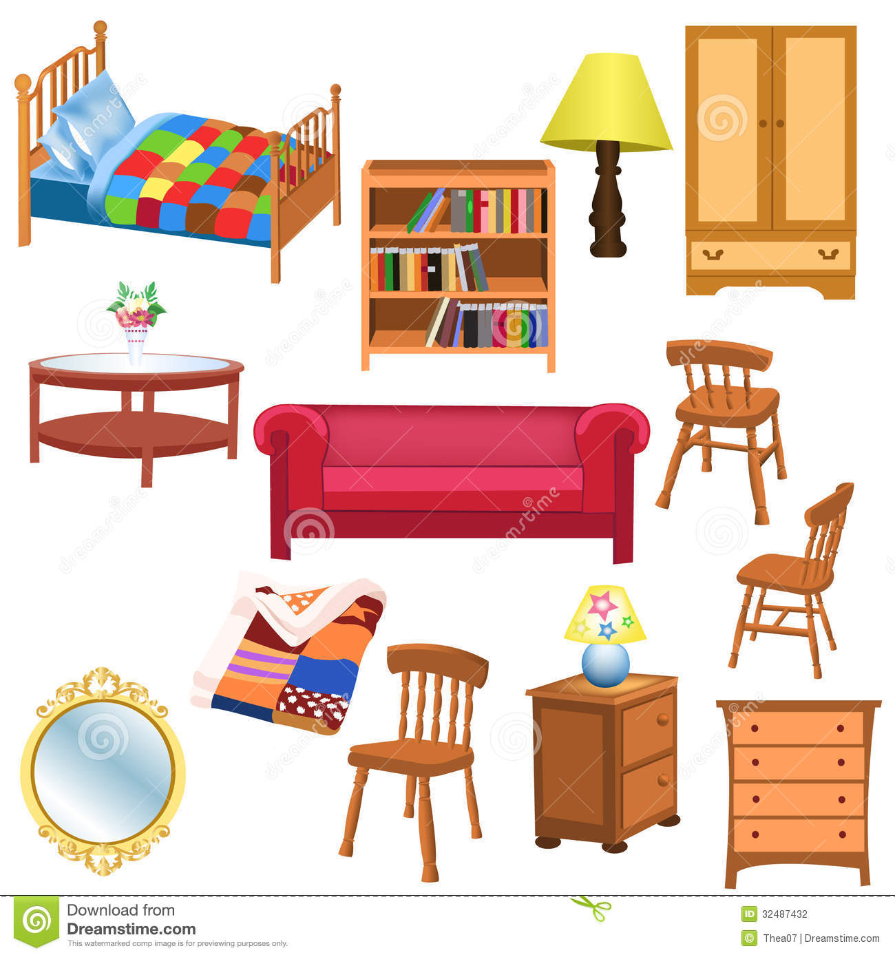 Furniture Set Stock Vector Illustration Of Table Blanket