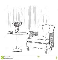 Furniture In Summer Cafe. Chair And Table Sketch Cartoon ...