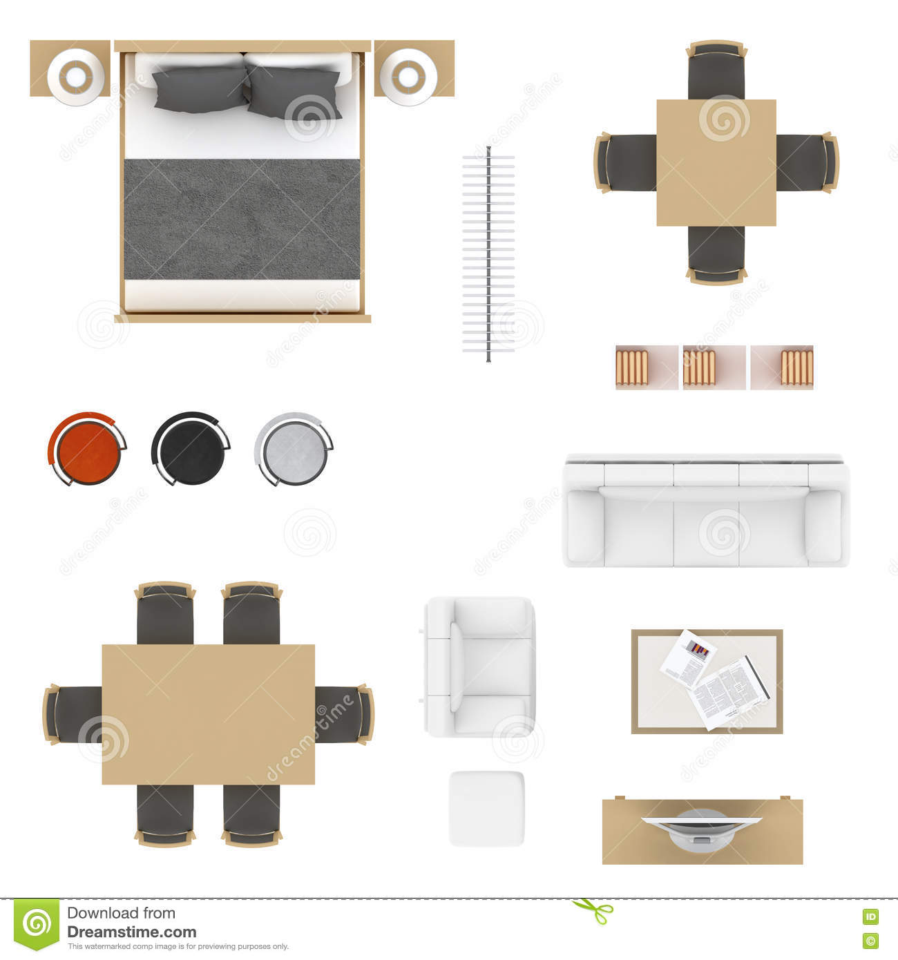Sofa Set Top View Psd Furniture Elements In Top View Vector Illustration
