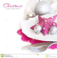 Fuschia Pink Christmas Table Setting Stock Photo - Image ...