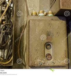 fuse box with fuses stock image image of archaic wires 71537325 vintage electrical fuse box vintage fuse box [ 1300 x 957 Pixel ]