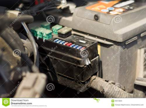 small resolution of fuse box under the bonnet of the car
