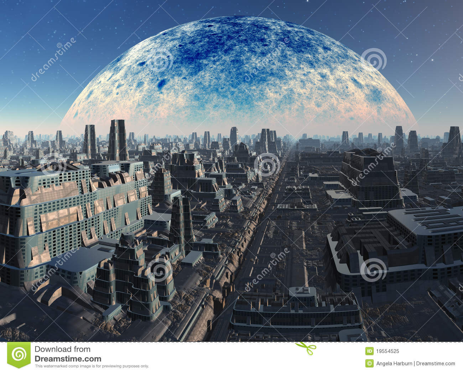 Futuristic Alien Industrial Cityscape Royalty Free Stock