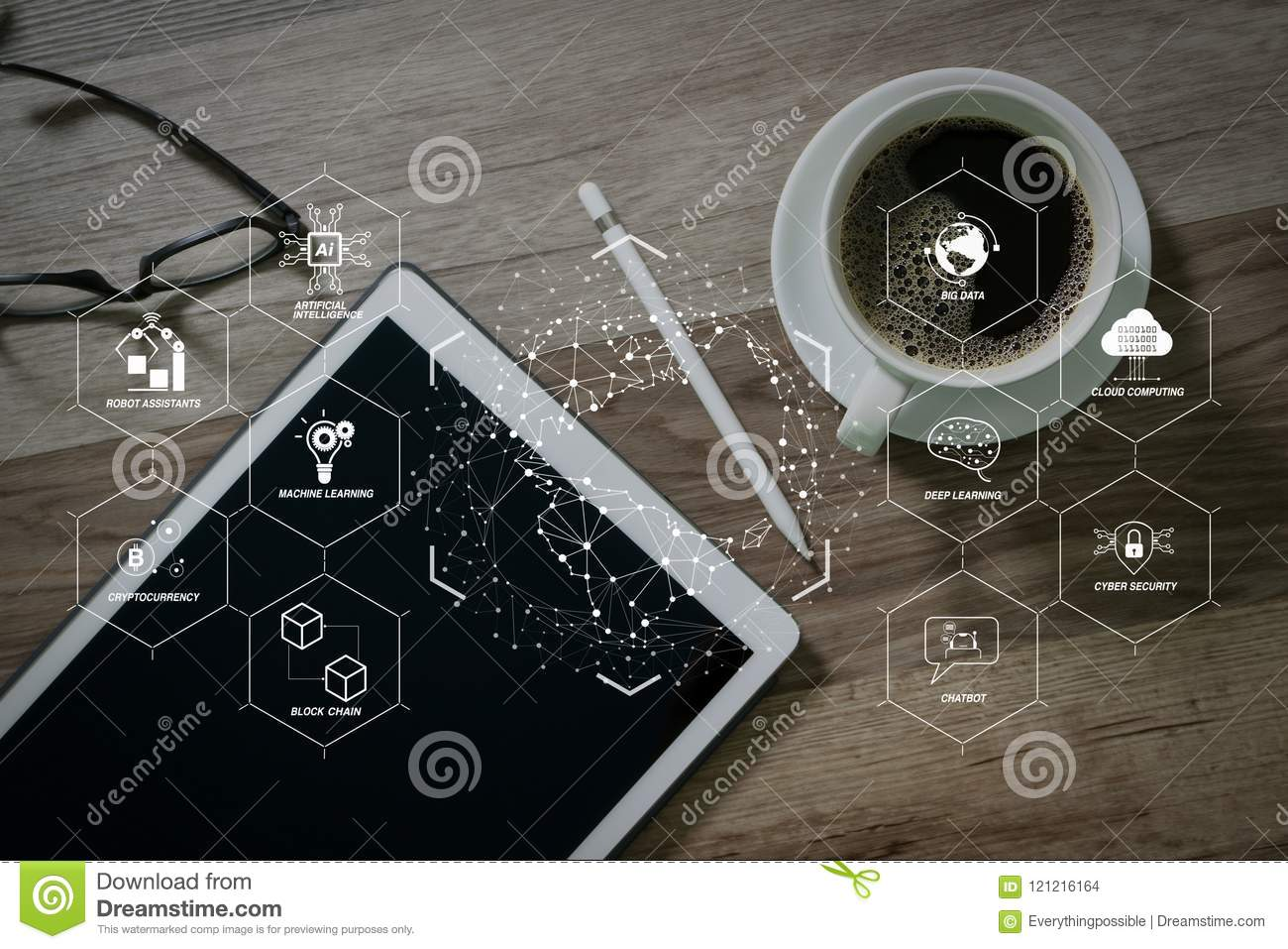 hight resolution of futuristic in industry 4 0 and business virtual diagram with ai robot assistant cloud big data and automation coffee cup and digital table dock smart