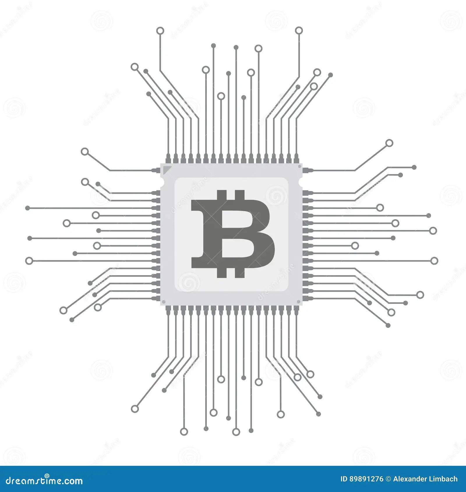Futuristic Processor Circuit Board Bitcoin Stock Vector