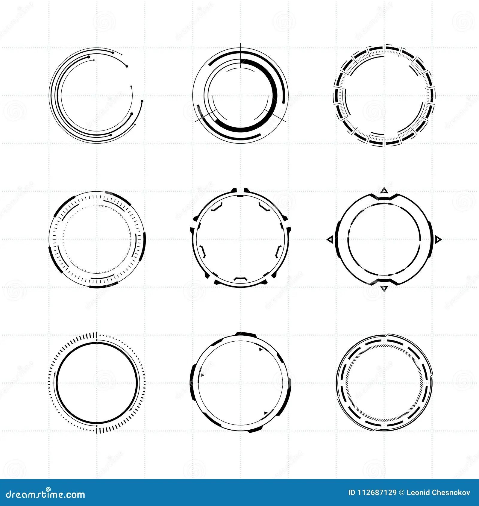 Futuristic User Interface Circle Elements Set Stock Vector