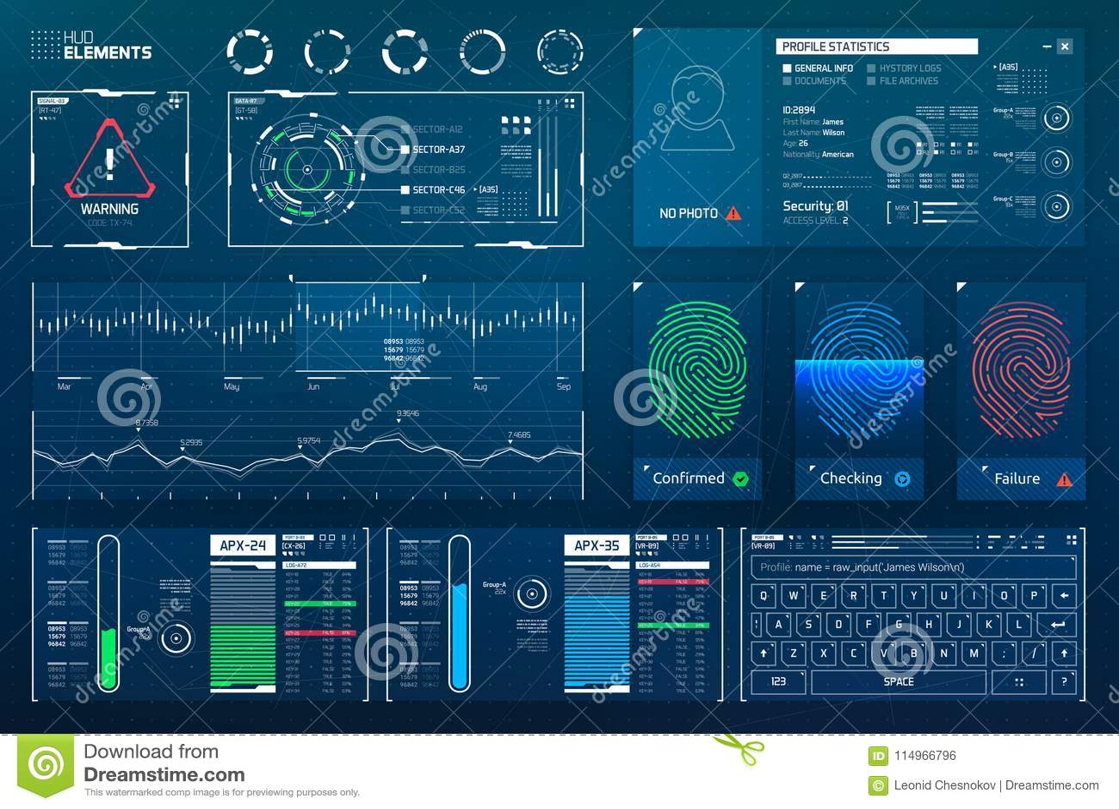 Futuristisk Science Fiction Hud Elements Set Vektor