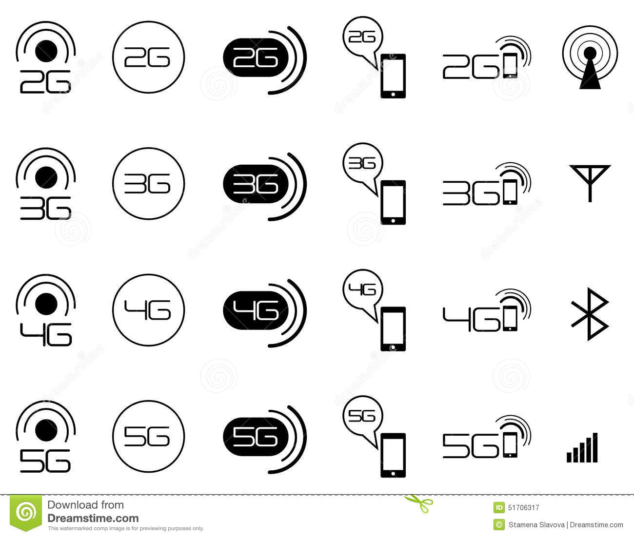 2g 3g 4g Mobile Network Icons Stock Vector