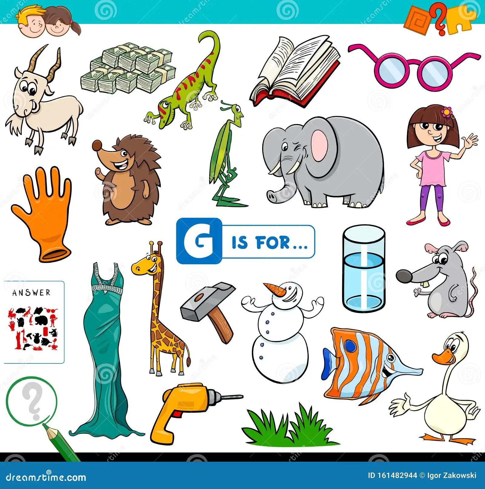 G Is For Words Educational Task For Children Stock Vector