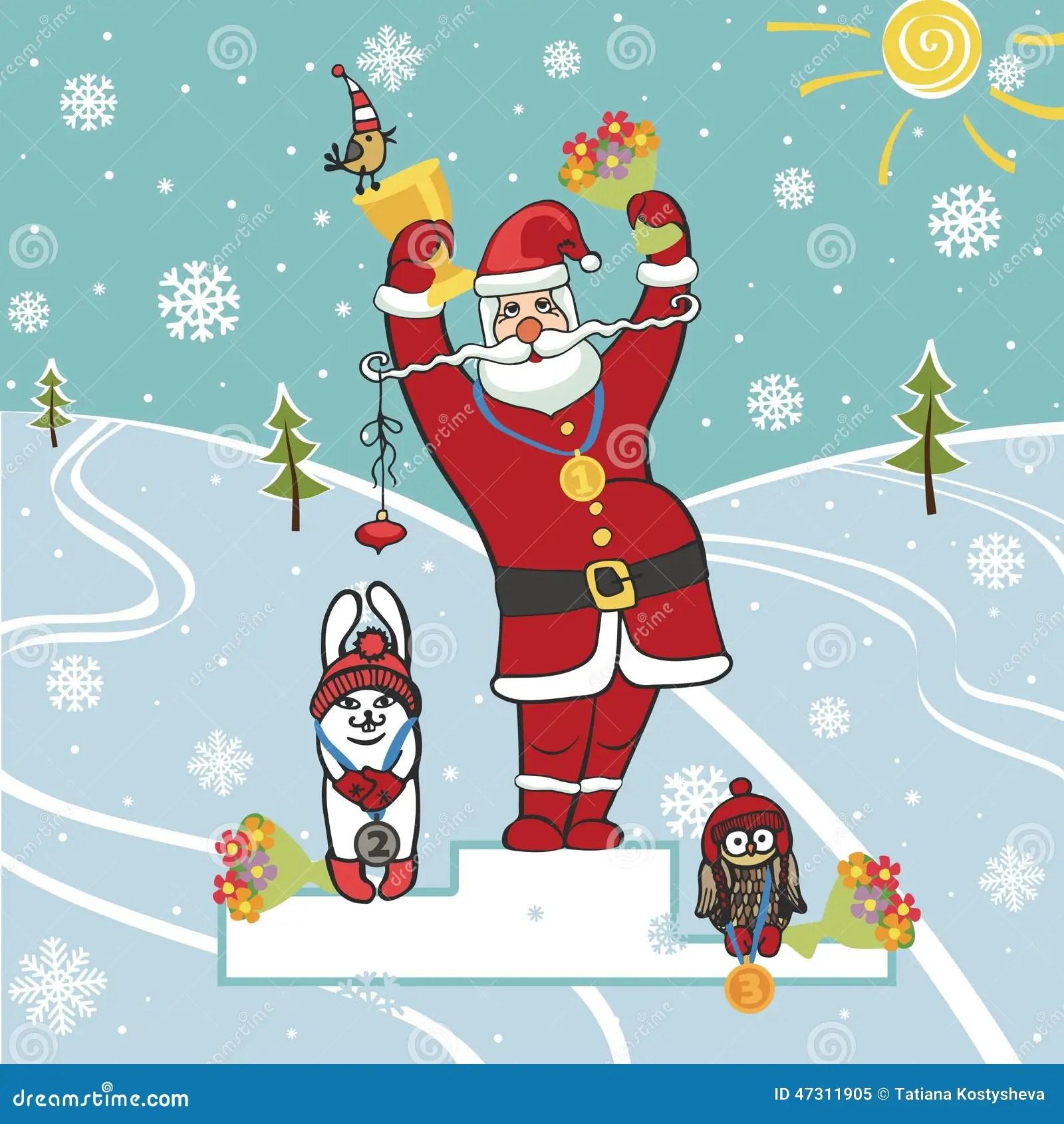 Gagnant De Santa Sur Le Podium Illustrations Humoristiques