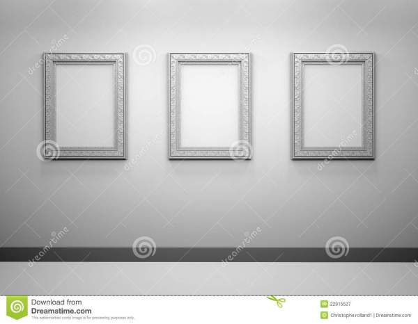 Interior With Empty Frames Wall Royalty Free