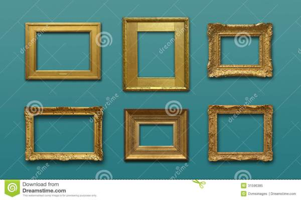 Wall With Gold Frames Stock - 31596385