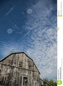 Gambrel Roof Black Weathered Barn With Deep Blue Sky And