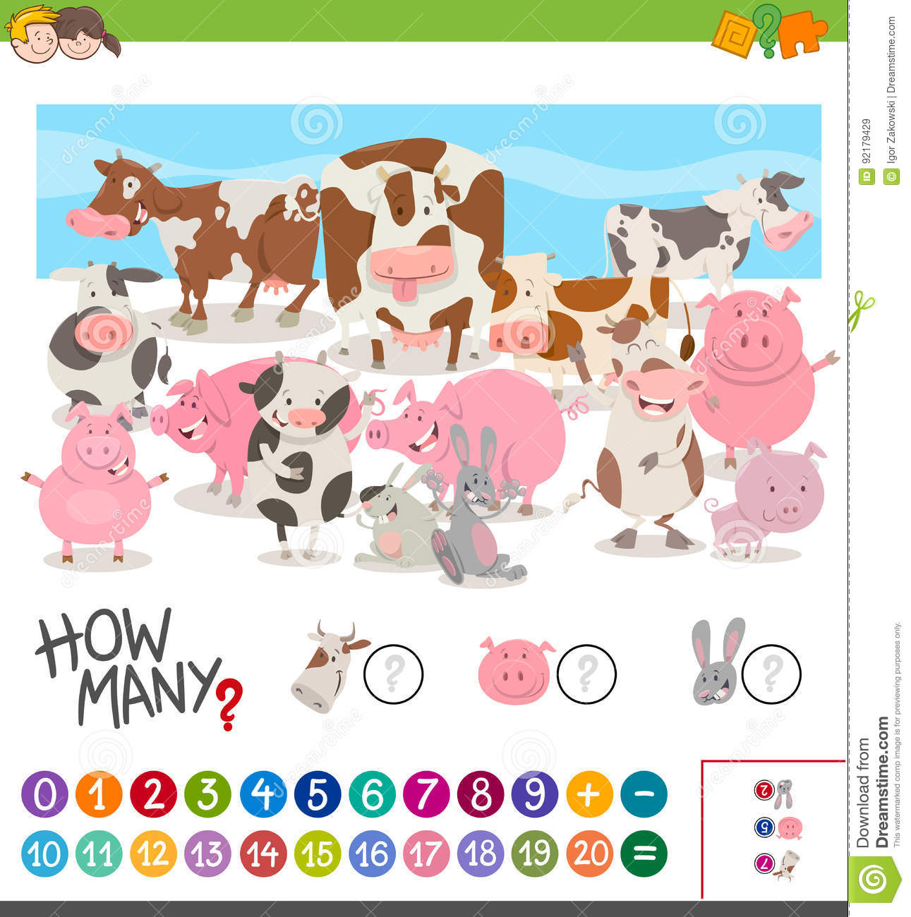 Game Of Counting Farm Animals Stock Vector
