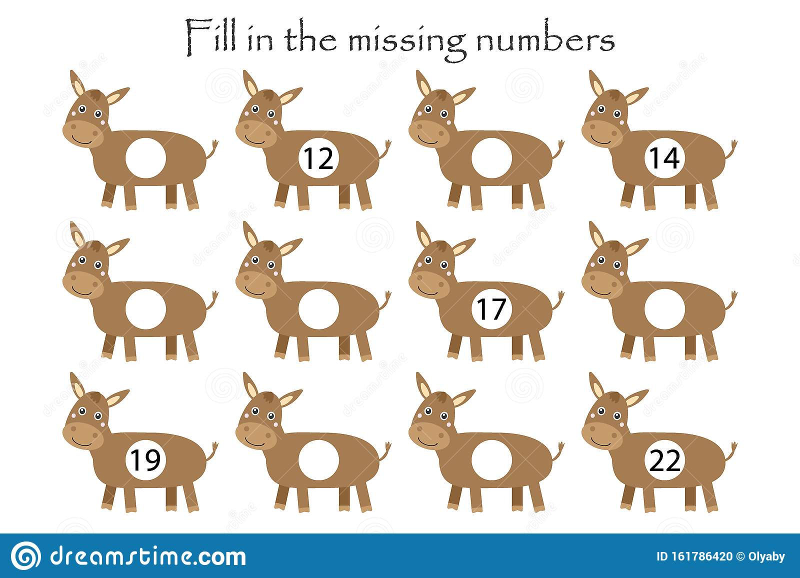 Game With Donkeys For Children Fill In The Missing
