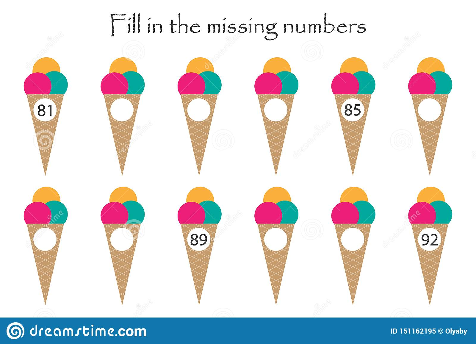 Game With Ice Creams For Children Fill In The Missing