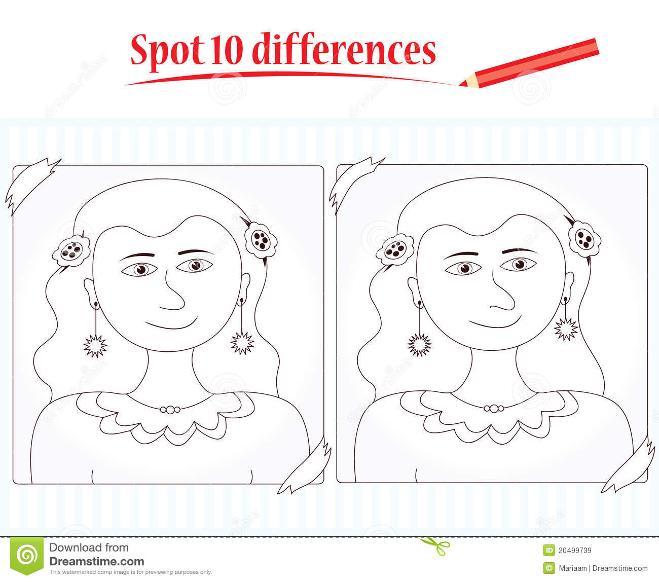 Game For Kids Spot 10 Differences Stock Illustration