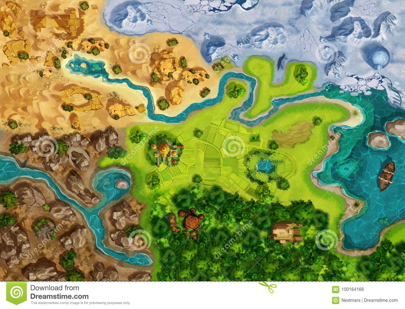Game Map Game Board Top View Stock Illustration