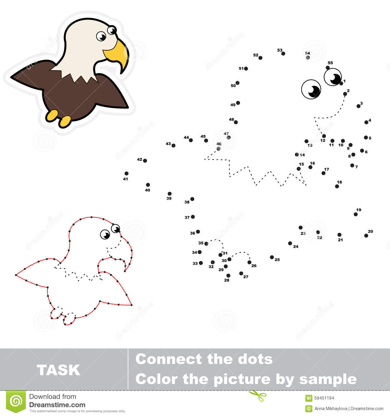 Game For Numbers One Cartoon Eagle Stock Vector