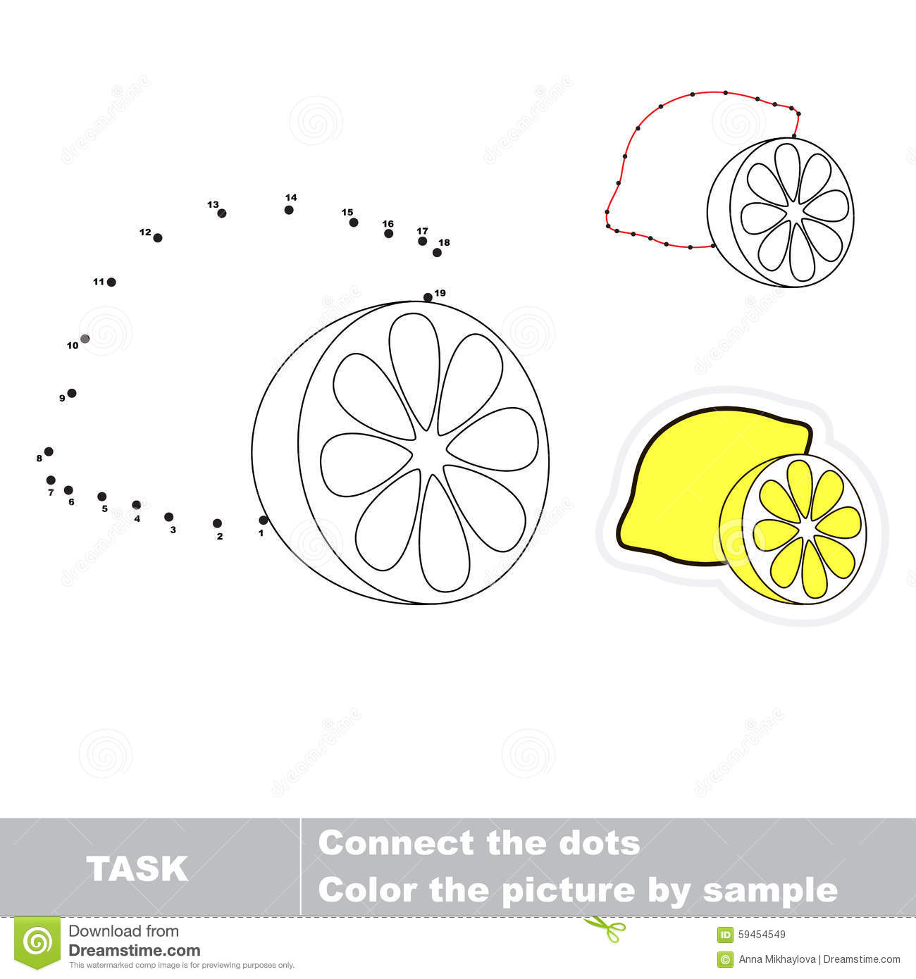 Game For Numbers One Cartoon Lemon Stock Vector