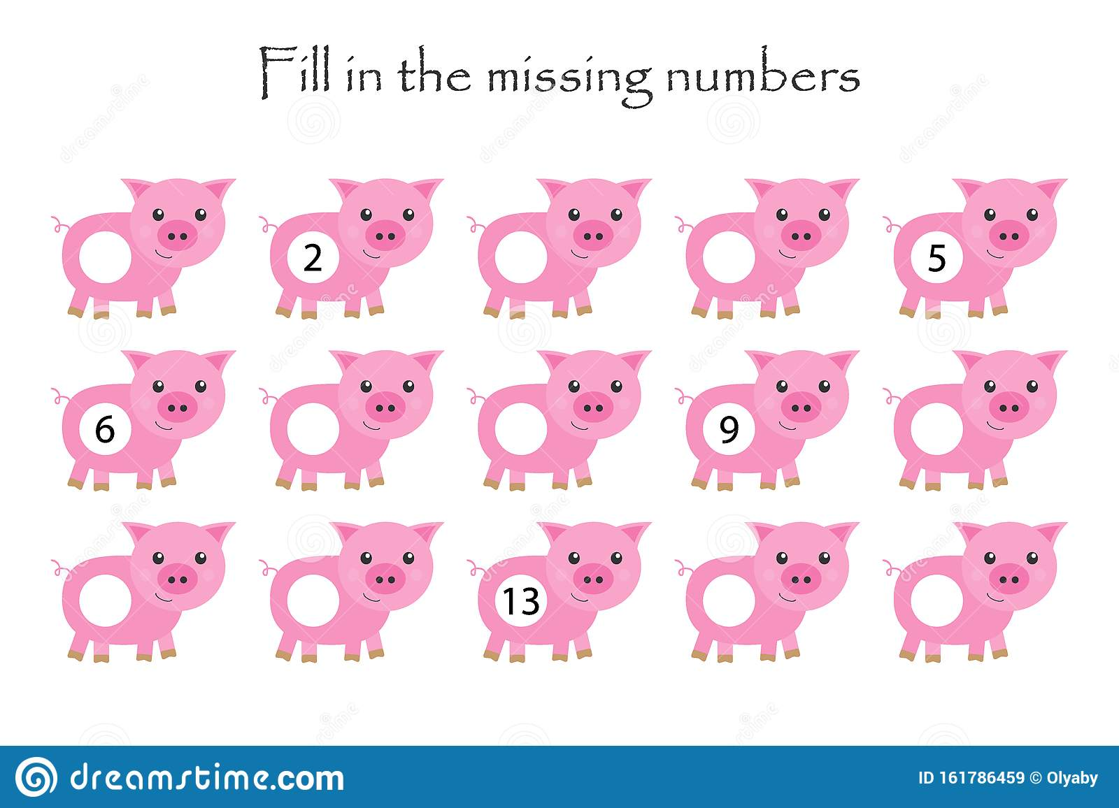 Game With Pigs For Children Fill In The Missing Numbers