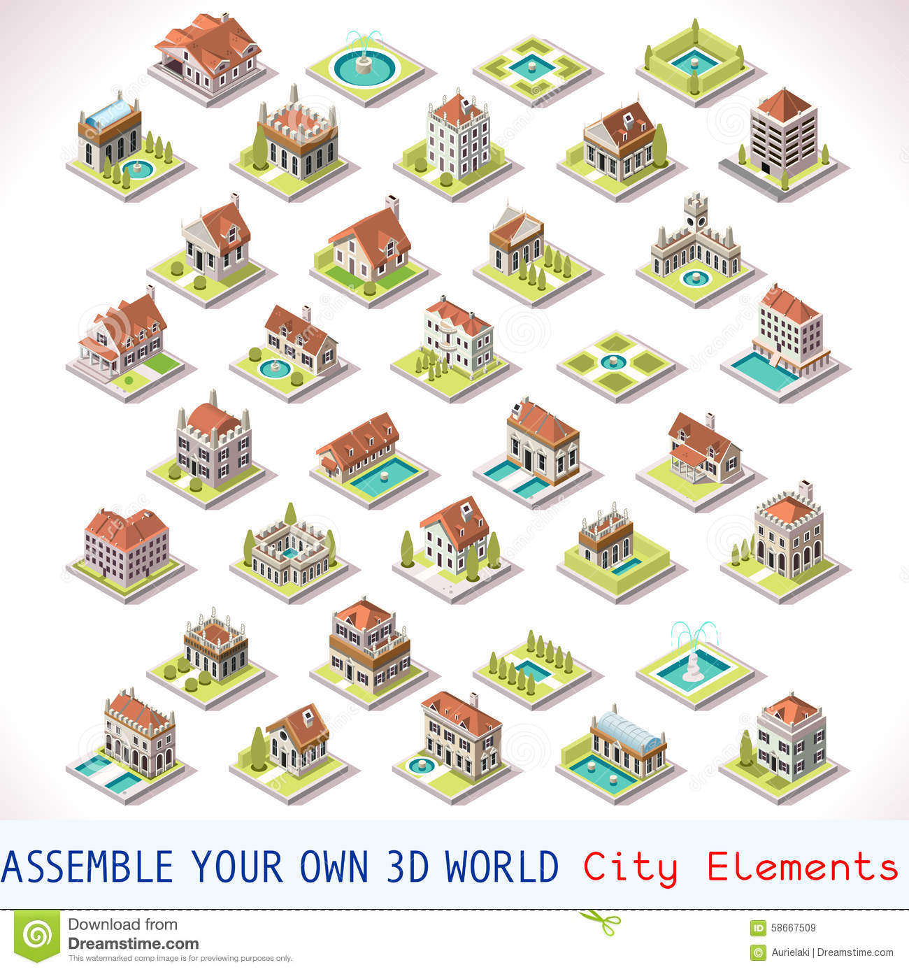 Game Set 03 Building Isometric Stock Vector