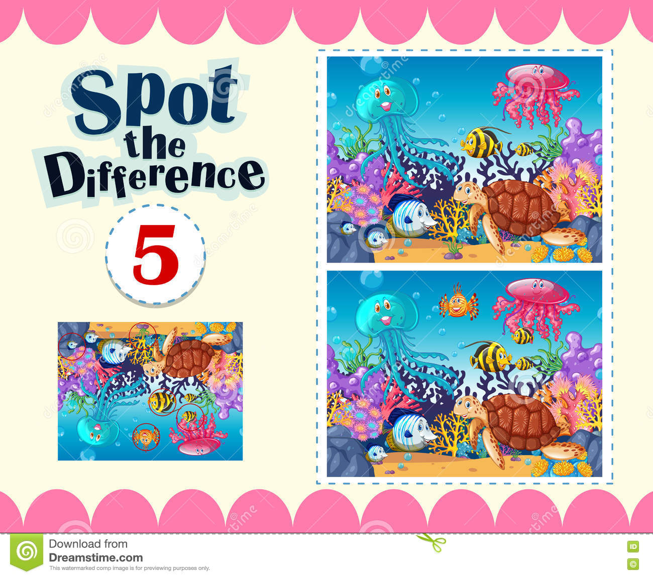 Game Template Of Spot The Difference Underwater Stock