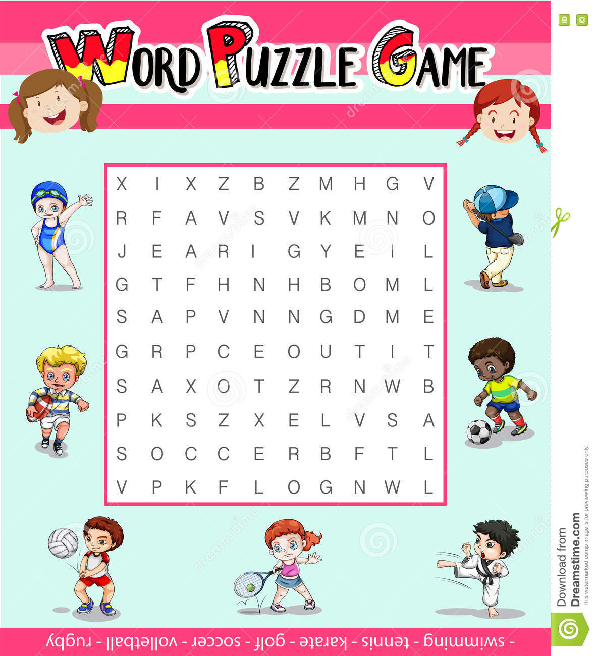 Game Template For Word Puzzle With Many Sports Stock