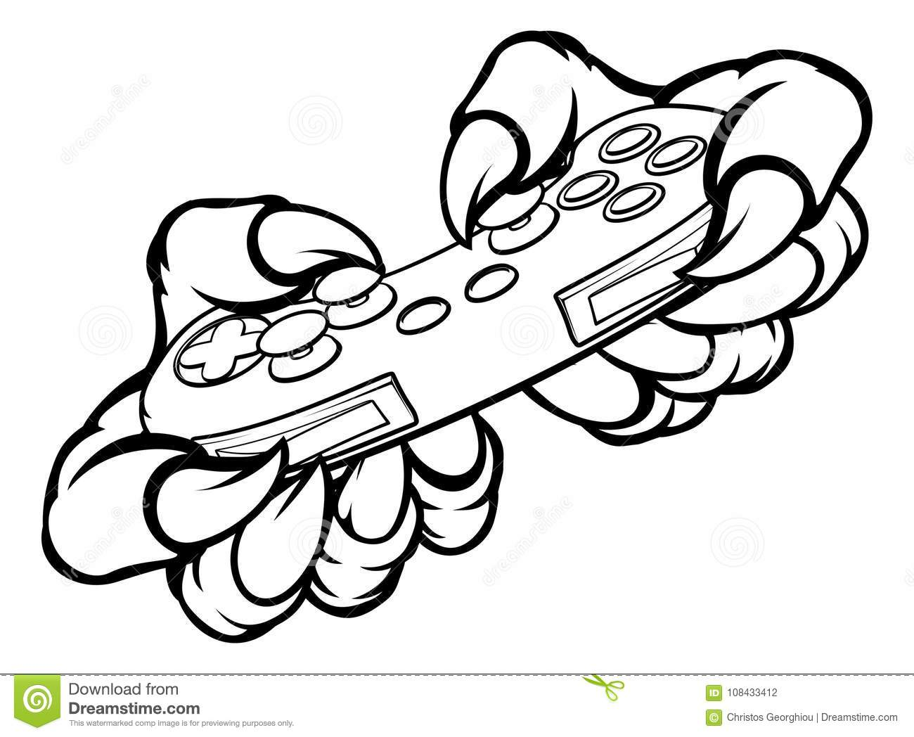 Gamer Monster Claws Holding Games Controller Stock Vector