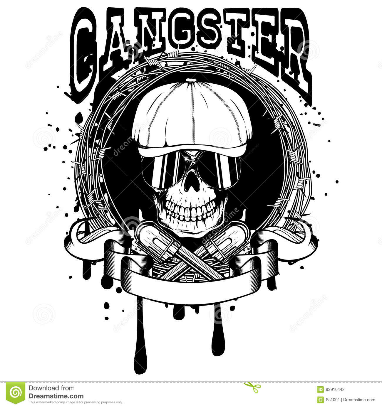 Gangster with revolvers stock vector. Image of design