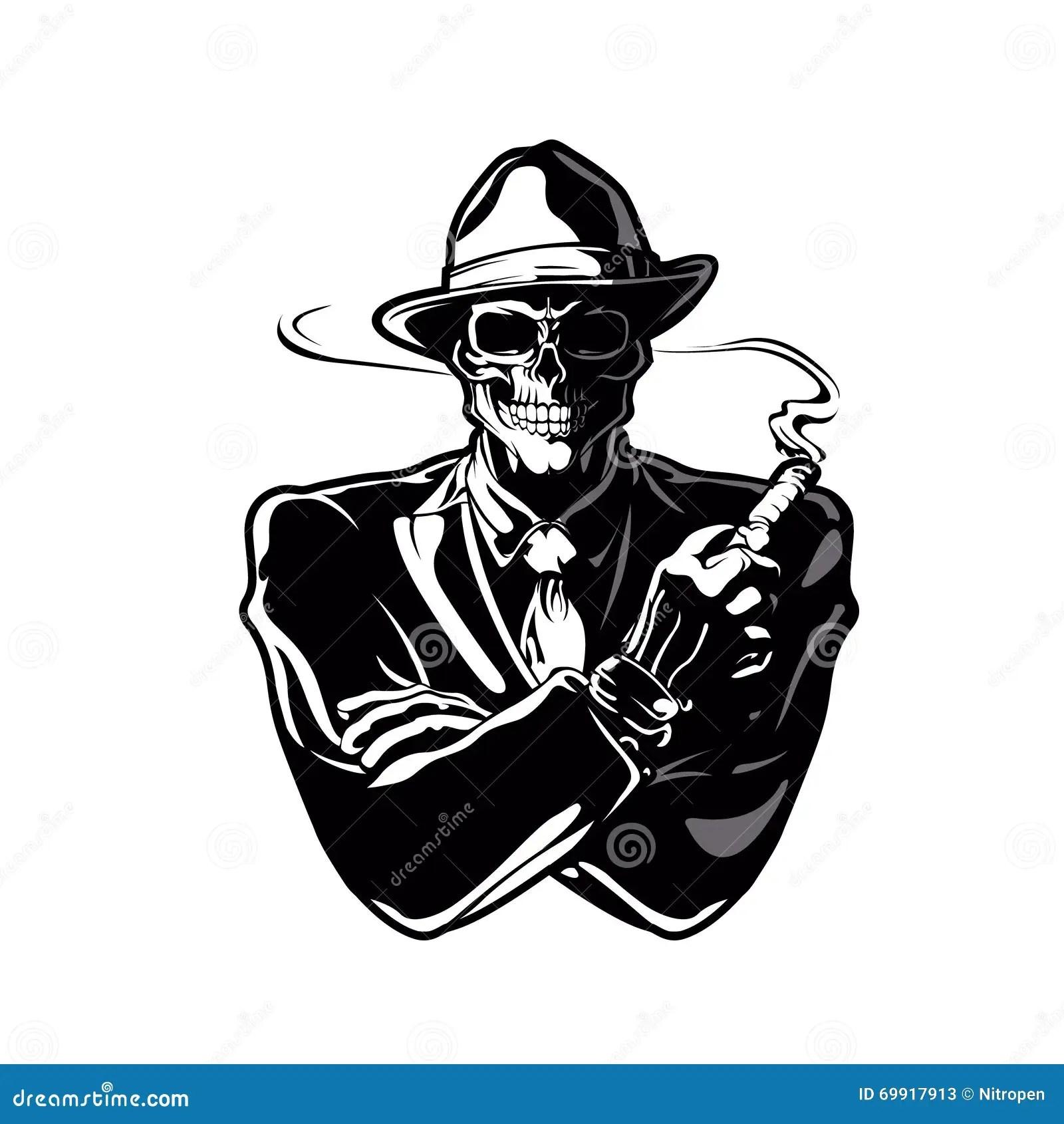 Clown Girl Smoking Cigar Wallpaper Gangster Skull Cartoon Stock Illustration Illustration Of